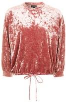 Topshop Velvet Blouson Sweatshirt