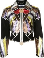 Givenchy zipped patchwork cropped jacket - women - Goat Skin/Lamb Skin - 36