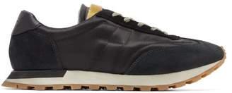 Maison Margiela Suede And Leather Trim Satin Trainers - Mens - Black Multi