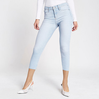 River Island Light blue Molly mid rise cropped jeggings