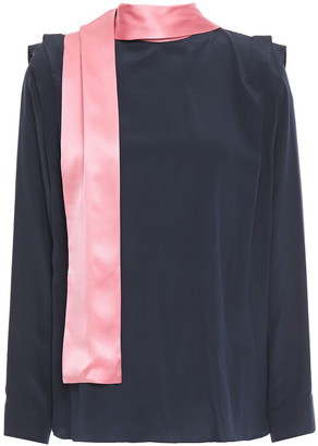 Roksanda Tie-neck Two-tone Silk Crepe De Chine Blouse