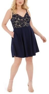 B. Darlin Trendy Plus Size Lace-Top A-Line Dress
