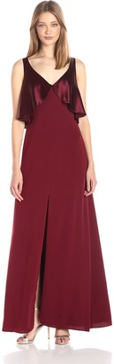 Jill Stuart Jill Women's Deep-V Satin Back Crepe Gown