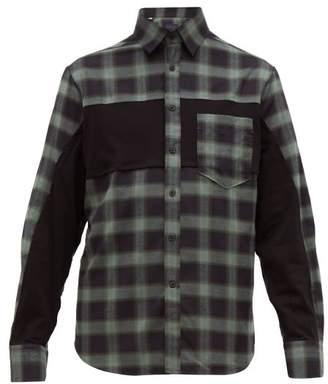 Lanvin Plaid Panelled Cotton-twill Shirt - Mens - Grey