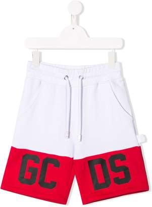 Gcds Kids colour-block track shorts