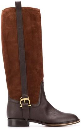 Pollini Panelled Knee Boots