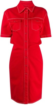 Off-White Red Denim Buttoned Dress