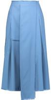 Rochas Fringed Pleated Wool Midi Skirt