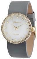 Geneva Platinum Women's Rhinestone Accented Round Face Simulated Leather Strap Watch - Gray
