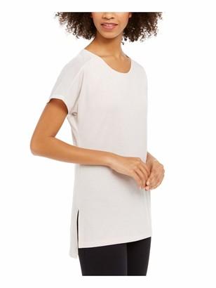 Ideology Womens Beige Sheer Solid Short Sleeve Jewel Neck T-Shirt Top Size: L