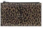 Saint Laurent Women's Monogram Leopard-Print Patent Leather Zip Pouch