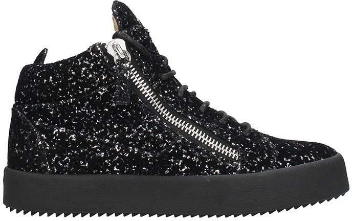 Giuseppe Zanotti High Glitter Black Leather Sneakers