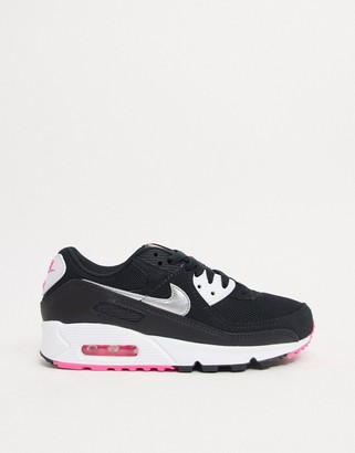 Nike 90 trainers in black silver and pink