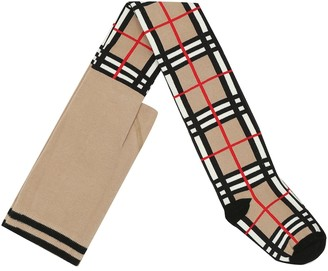 BURBERRY KIDS Check cotton-blend tights
