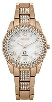 Oasis Women's Quartz Watch with White Dial Analogue Display and Rose Gold Plated Bracelet B1539