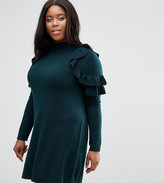 Asos Jumper Dress With Ruffle Shoulder