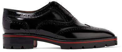 Christian Louboutin Charletta Patent-leather Brogues - Black