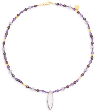 Gurhan 24K Yellow Gold, Amethyst 3MM Freshwater Pearl Necklace