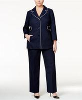 Le Suit Plus Size Piped-Trim Pantsuit