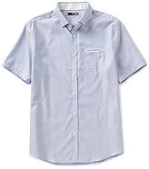 Murano San Francisco Collection Diamond Dobby Short Sleeve Slim-Fit Button Down Shirt