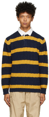 Beams Navy and Yellow Rugger Long Sleeve Polo