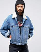 Asos Oversized Denim Jacket in Mid Blue Wash With Fleece Collar