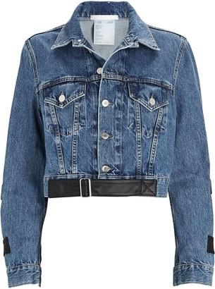 Helmut Lang Leather-Trimmed Cropped Denim Jacket