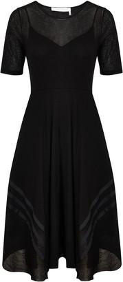 Chloé See By Sheer Flared Midi Dress, Black
