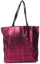 Saks Fifth Avenue Pink Leather Crosshatch Tote Handbag Size Medium