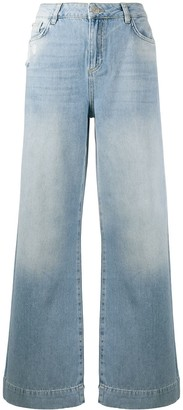 Twin-Set Distressed Wide-Leg Jeans