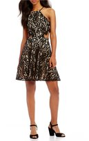GB Halter Neck Lace Cut Out Swing Dress