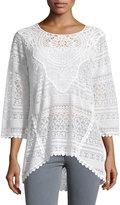 XCVI Delaney Crochet Sweater, White