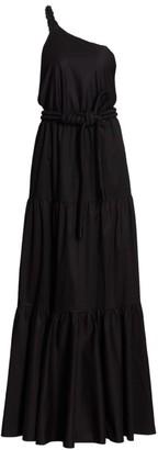 Johanna Ortiz One-Shoulder Knotted Silk Maxi Dress