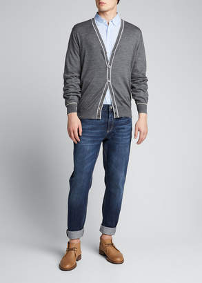 Brunello Cucinelli Men's Contrast-Tipping Wool Cardigan