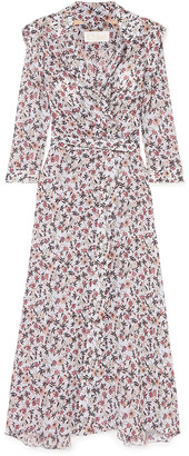 Chloé Scalloped Floral-print Georgette Maxi Wrap Dress