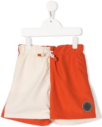 BRUNELLO CUCINELLI KIDS Logo Contrast Swim Shorts