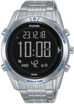 Pulsar Pulsar Solar Black and Blue Detail Digital Dial Stainless Steel Bracelet Mens Watch