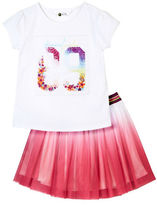 Petit Lem Girls 2-6x Two-Piece Ombre Top and Skirt Set