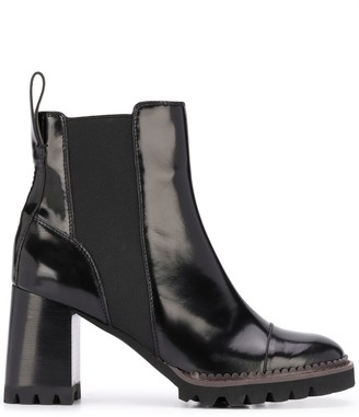 See by Chloe Leather Chunky Heel Ankle Boots