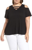 Bobeau Plus Size Women's Strappy Cold Shoulder Top