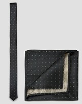 Asos Skinny Tie And Pocket Square Pack With Gold Metallic Design