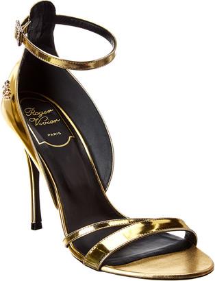 Roger Vivier Rhinestone Leather Sandal