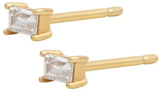 Wanderlust + Co Baguette Petite Topaz Gold Sterling Silver Earrings