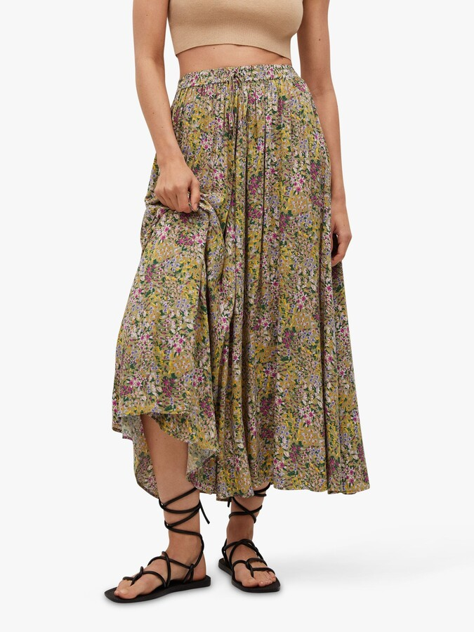 Thumbnail for your product : MANGO Floral Print Drawstring Waist Skirt, Green/Multi