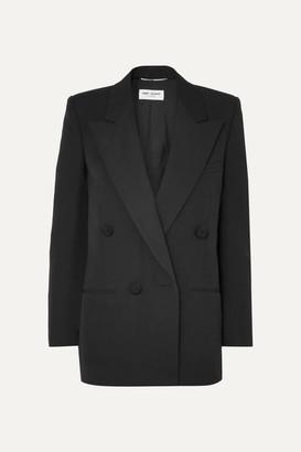 Saint Laurent Double-breasted Satin-trimmed Wool Blazer - Black
