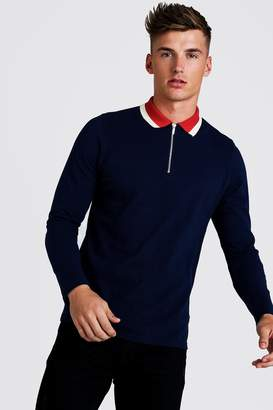 BoohoomanBoohooMAN Mens Navy Long Sleeve Zip Polo With Contrast Collar, Navy