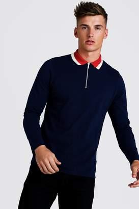 boohoo Long Sleeve Zip Polo With Contrast Collar