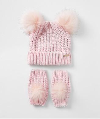 River Island Girls Chenille Hat aand Mitten Set-Pink