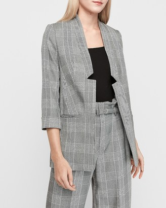 Express Plaid Inverted Notch Collar Boyfriend Blazer