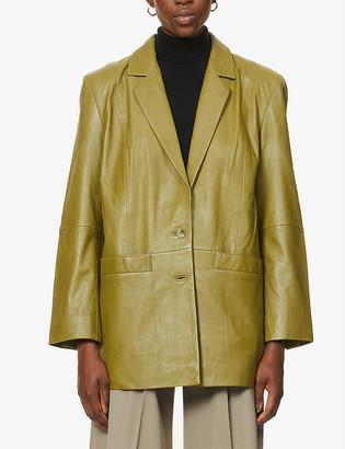 Gestuz Noala single-breasted leather blazer